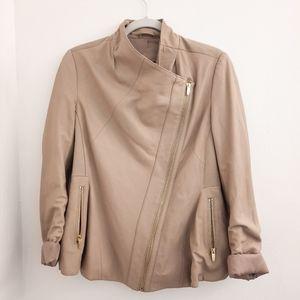 Via Spiga Taupe Leather Drape Front Jacket Medium